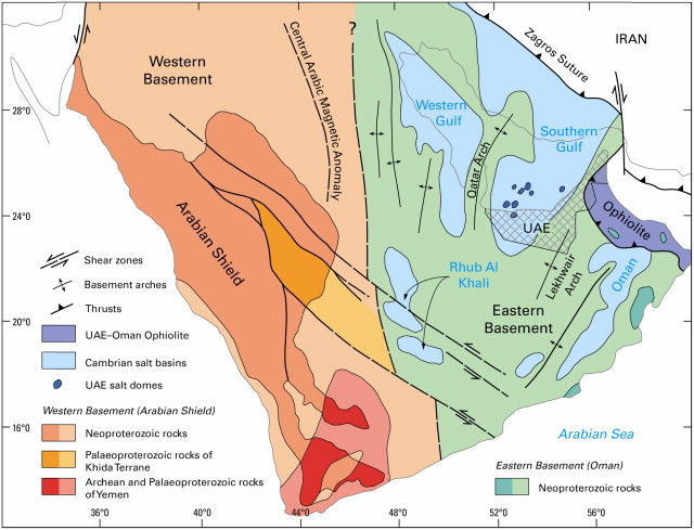 modified after stern and johnson 2010 and the geological setting of the emergent salt domes of uae and oman cama central arabian magnetic anomaly