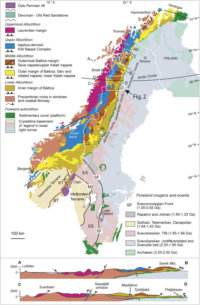 Detrital Zircon Signatures Of The Baltoscandian Margin Along The - Sweden map arctic circle