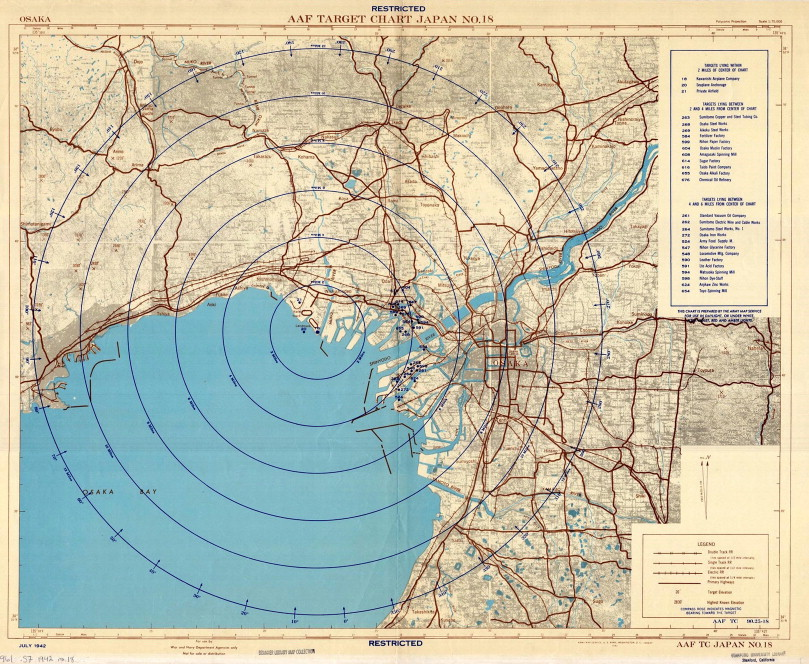 A cartographic fade to black mapping the destruction of urban japan aaf target japan no 18 osaka july 1942 source branner library stanford university gumiabroncs Image collections