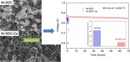 Stable direct-methane solid oxide fuel cells with calcium