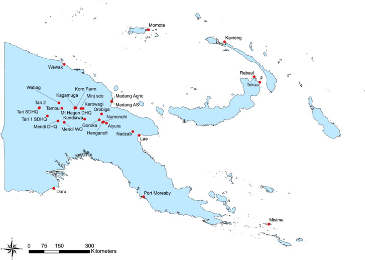 Food shortages are associated with droughts floods frosts and enso appendix 1b location of stations in appendix 1a where rainfall data was retrieved and compiled for papua new guinea publicscrutiny Images