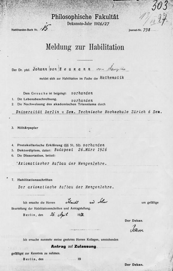 Die Habilitation von John von Neumann an der Friedrich-Wilhelms ...