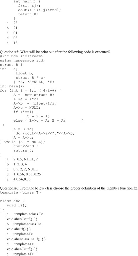Evaluation of knowledge in Object Oriented Programming course with