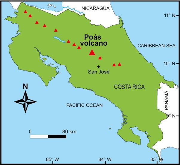 Location Map Of Poas Volcano