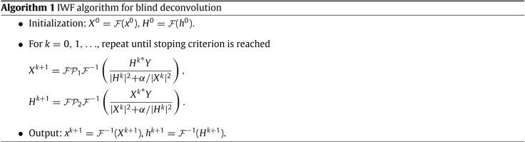 Regularized iterative Weiner filter method for blind image
