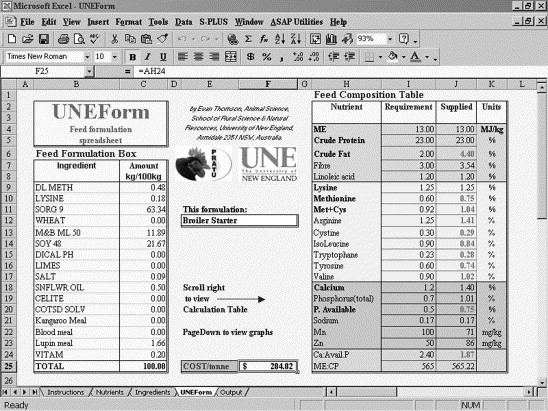 UNEForm: a powerful feed formulation spreadsheet suitable
