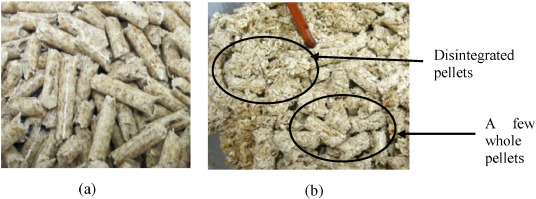 Changes in mechanical properties of wood pellets during