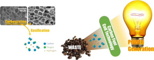 Direct power generation from waste coffee grounds in a