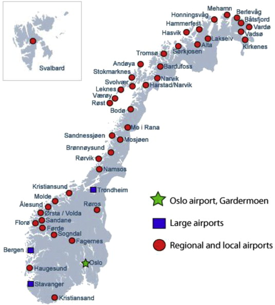 Marginal Costs Pricing Of Airport Operations In Norway ScienceDirect - Norway map with airports