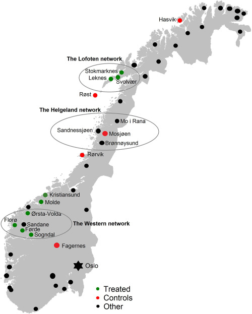 The Effect Of Airports On Regional Development Evidence From The - Norway map with airports