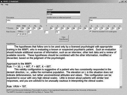 A Windows Program To Aid In MMPI 2 Interpretation