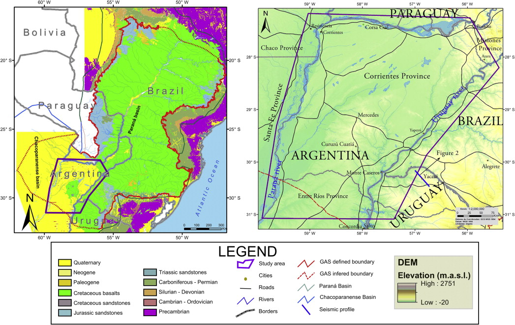Subsurface geological modeling of corrientes province ne argentina location map of the studied area and digital elevation model on the left a regional geological scheme with the gas limits modified after achilli et al publicscrutiny Images