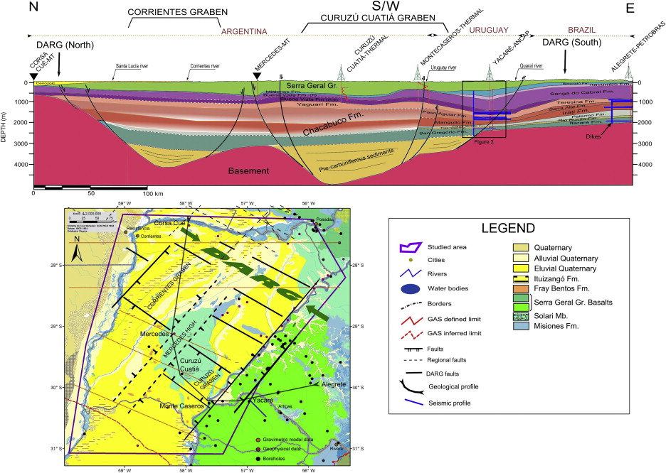 Subsurface geological modeling of corrientes province ne argentina brazil to cors cu corrientes argentina including in red the spontaneous potential sp of some boreholes bottom left geological map modified publicscrutiny Images
