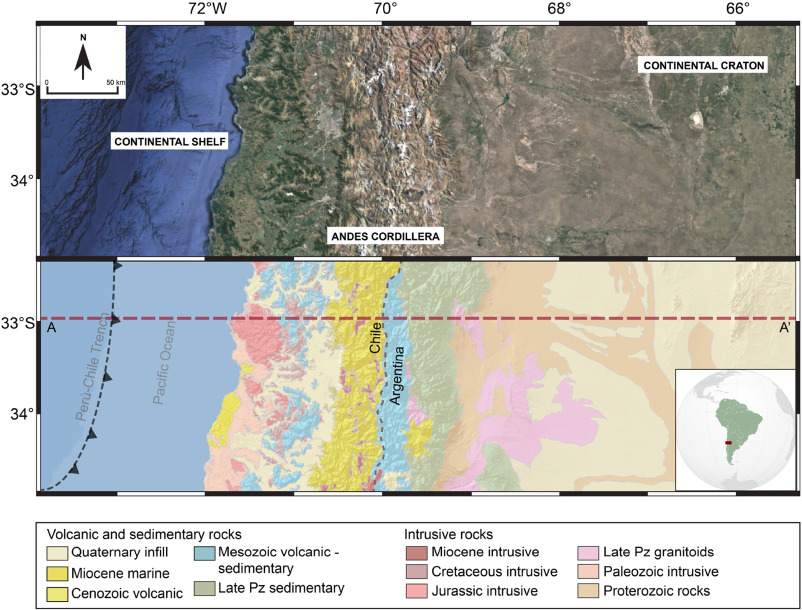 A model for thermal gradient and heat flow in central Chile
