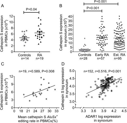 Increased adenosine-to-inosine RNA editing in rheumatoid