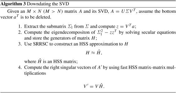 Down dating the singular value decomposition algorithm