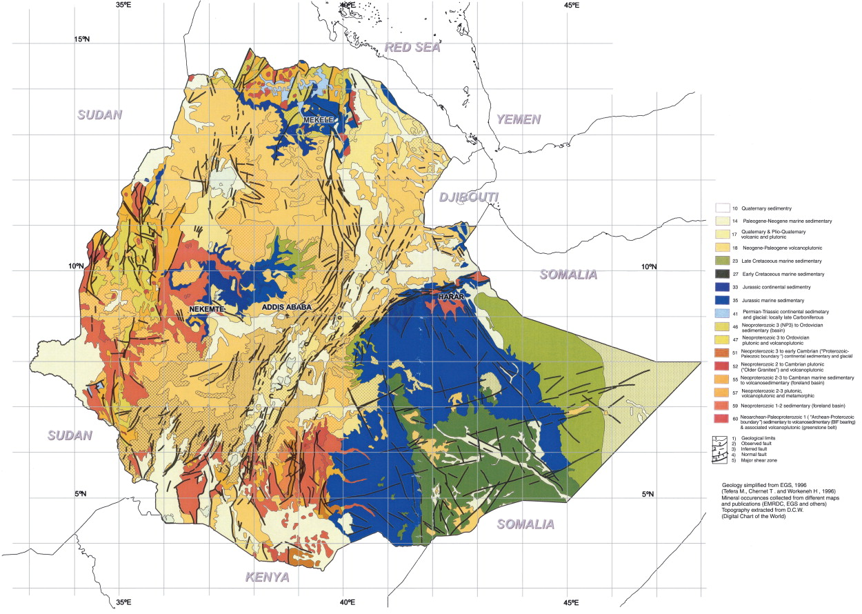 Mineral Map Of The World.Geology And Mineral Potential Of Ethiopia A Note On Geology And