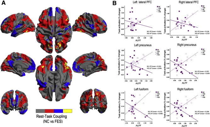 Hyper-coupling between working memory task-evoked