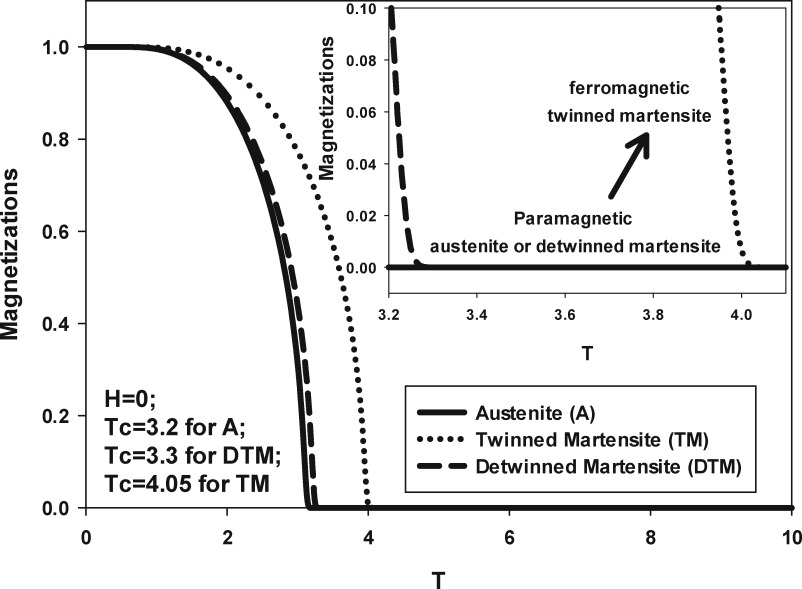 Magnetic properties of the Martensitic transformations with twinned