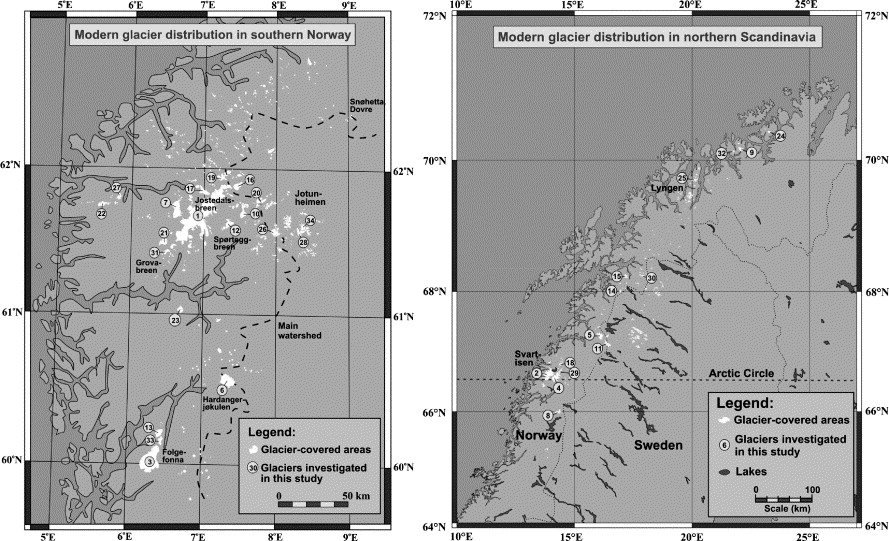 Norwegian Mountain Glaciers In The Past Present And Future - Norway glacier map
