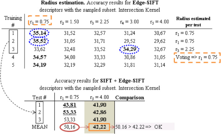 Compass radius estimation for improved image classification using