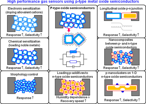 Highly sensitive and selective gas sensors using p-type