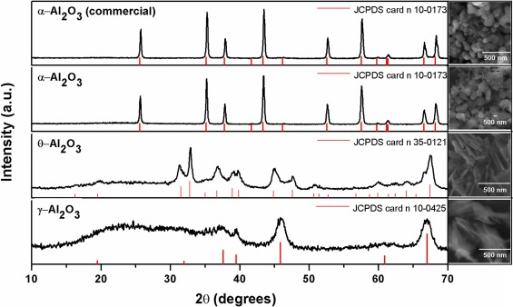 Influence of Al2O3 nanoparticles structure immobilized upon