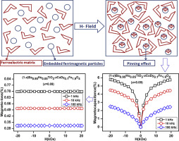 Magnetodielectric effect in rare earth doped BaTiO3-CoFe2O4
