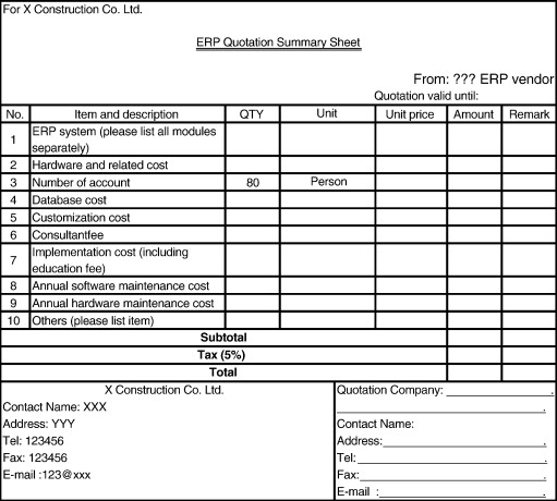 quotation sheet for erp vendors