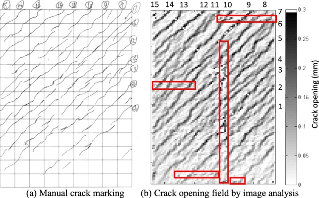 Image analysis method for crack distribution and width