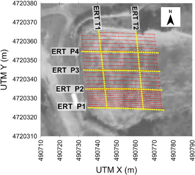 Combined GPR and ERT exploratory geophysical survey of the