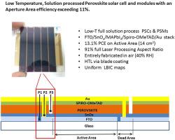 Low temperature, solution-processed perovskite solar cells