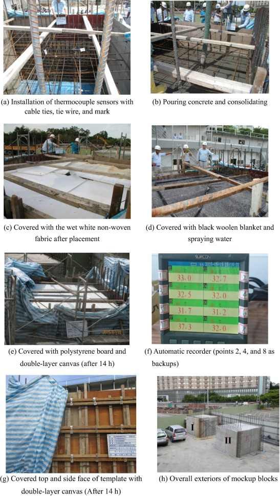 Impact of climate on mockup for mass concrete incorporating