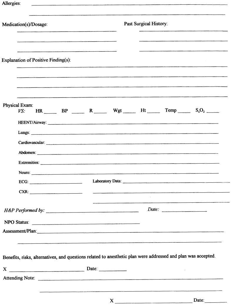 Anesthesia Preoperative Evaluation Form Erkalnathandedecker
