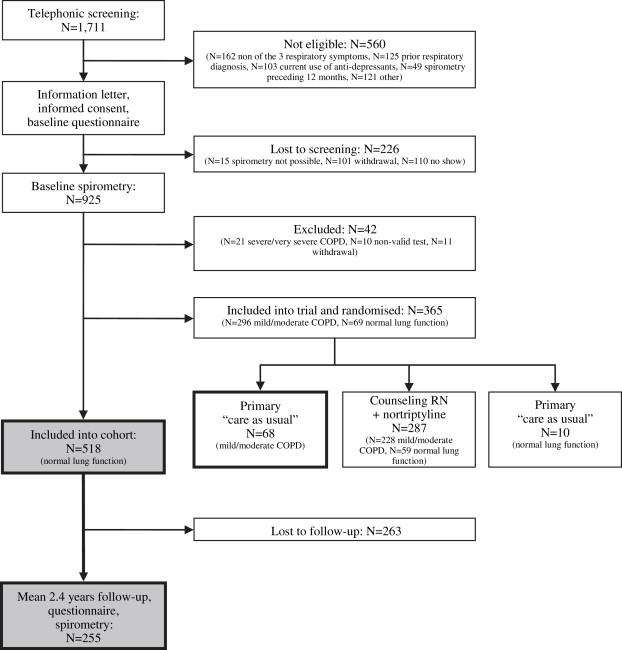 Smoking cessation and development of respiratory health in smokers