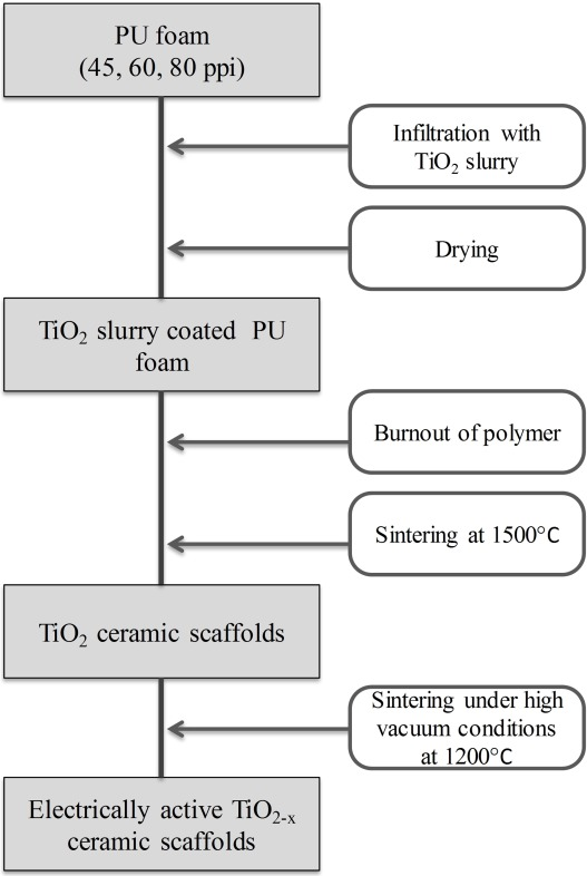 Electrically active and 3D porous TiO2-x ceramic scaffolds