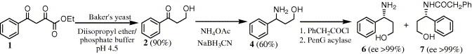 对映体纯的制备(R) - 和(S)-3-氨基-3-苯基-1-丙醇经由与固定化的青霉素G酰化酶的分辨率