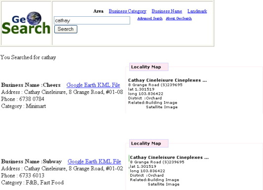 Web-based geographic search engine for location-aware search