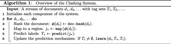 Efficient classification of multi-labeled text streams by clashing