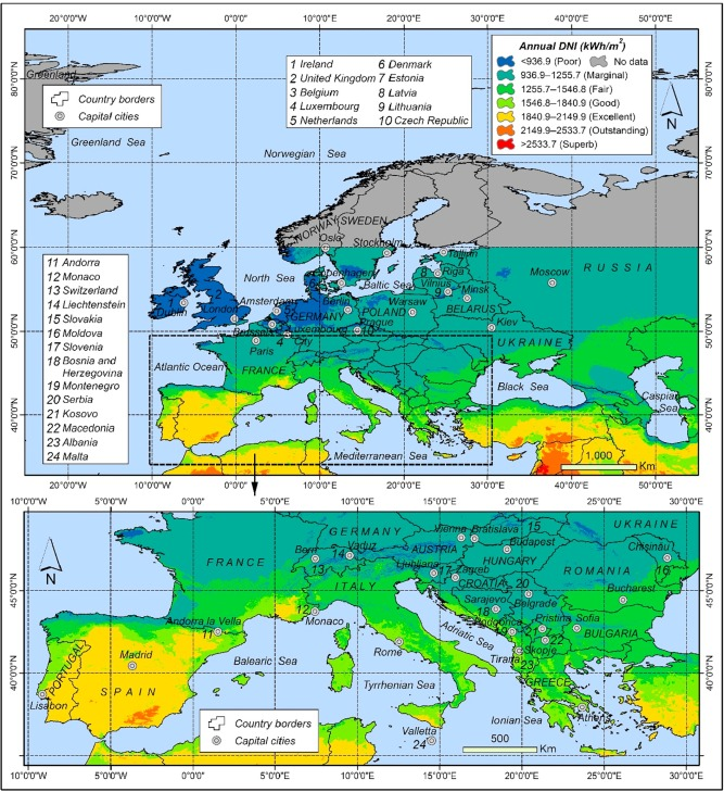 Spatial assessment of solar energy potential at global scale