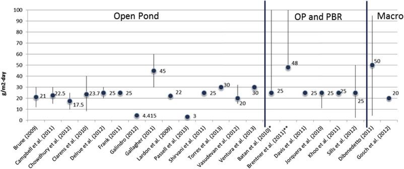 Assessment of algae biodiesel viability based on the area