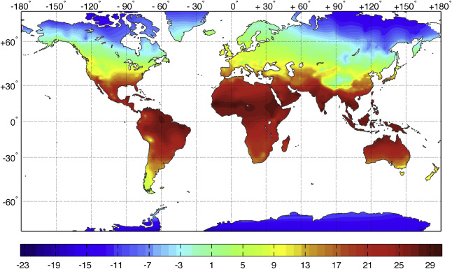 Climatic parameters for building energy applications a temporal global distribution of annual mean temperature t c publicscrutiny Images