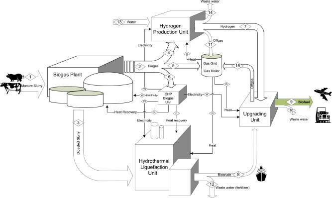 Conceptual design of an integrated hydrothermal liquefaction and