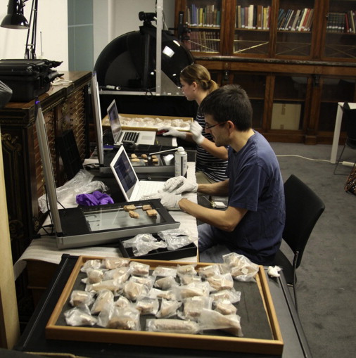 Detective work: Jacob Dahl and Laura Hawkins working on cuneiform tablets at…