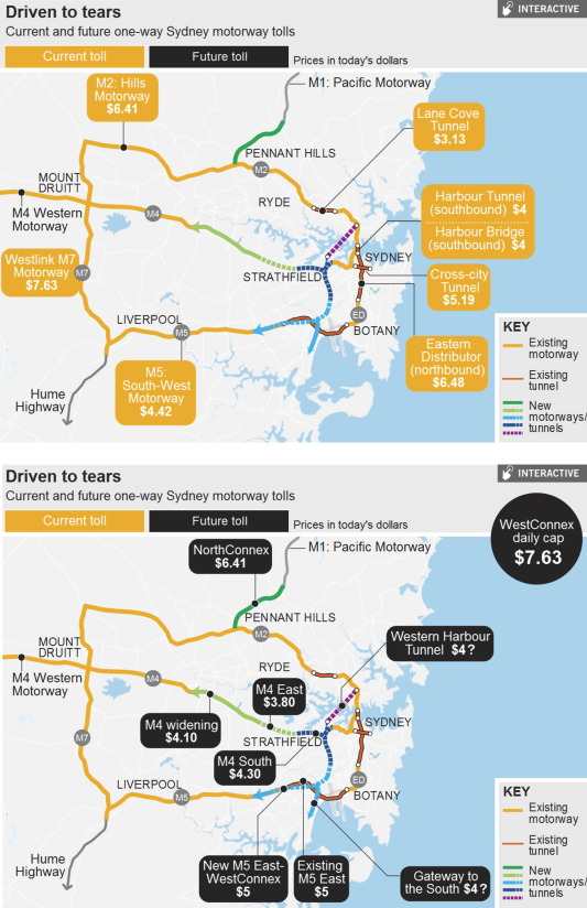 fig 3 sydneys toll road network existing and new tollways