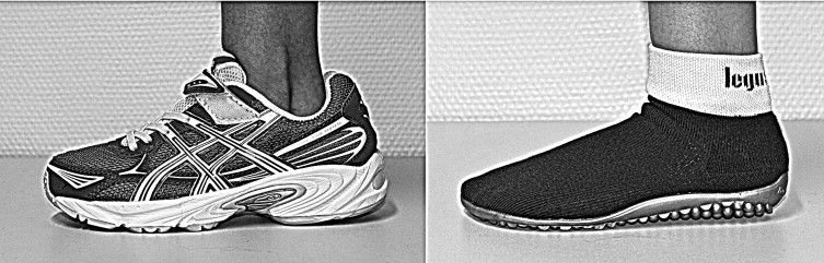 Photographs of the standard cushioning (left) and minimalistic (right) shoes  used in this study.