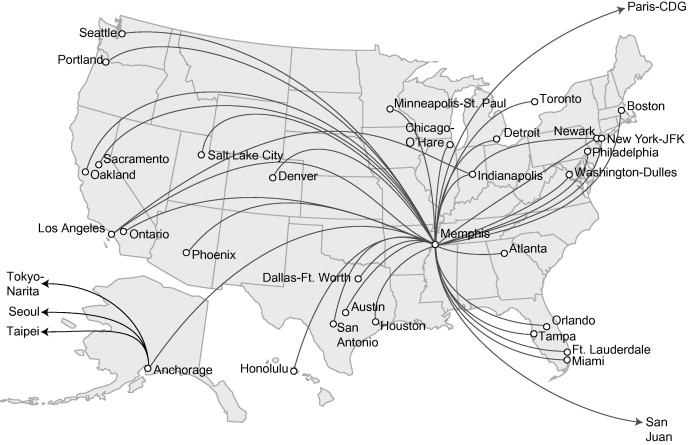 A spatial analysis of FedEx and UPS: hubs, spokes, and