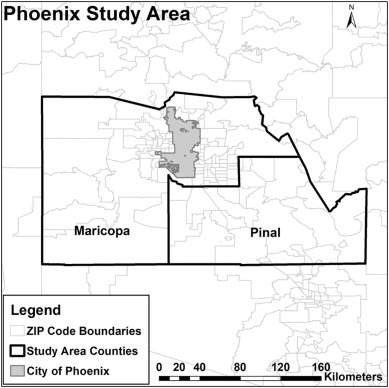 City Of Phoenix Zip Code Map.An Evaluation Of Logistics Sprawl In Chicago And Phoenix Sciencedirect