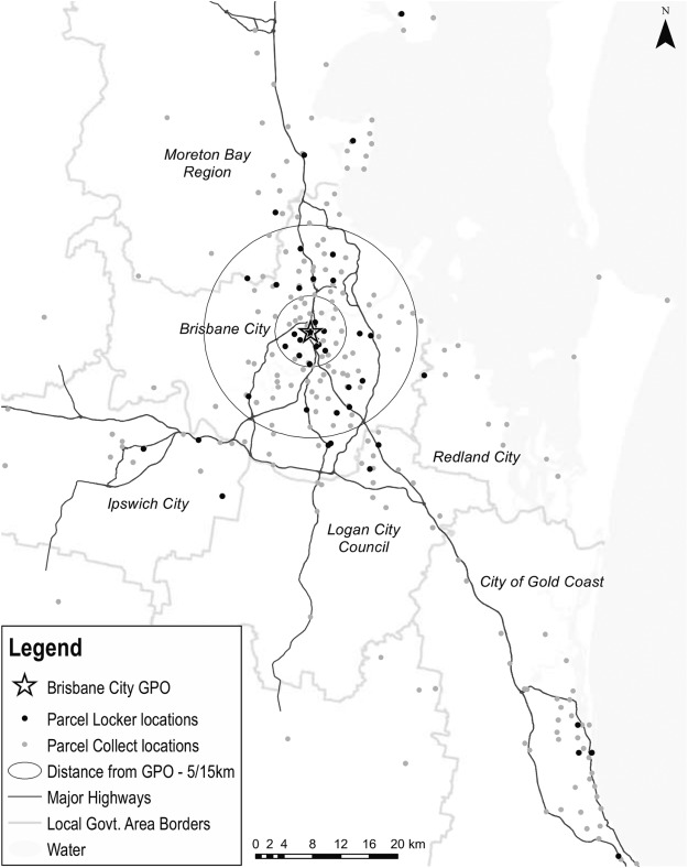 Parcel locker systems in a car dominant city: Location