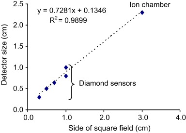 The influence of detector size relative to field size in